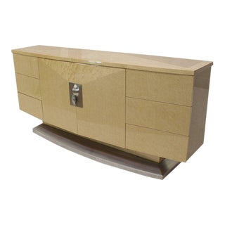 Mid-Century Modern Long Curved Birds Eye Maple Sideboard For Sale