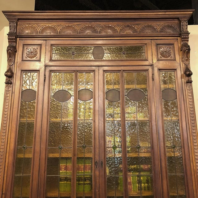 Grand 19th Century Italian Renaissance Stained Glass Bookcase For Sale - Image 4 of 13