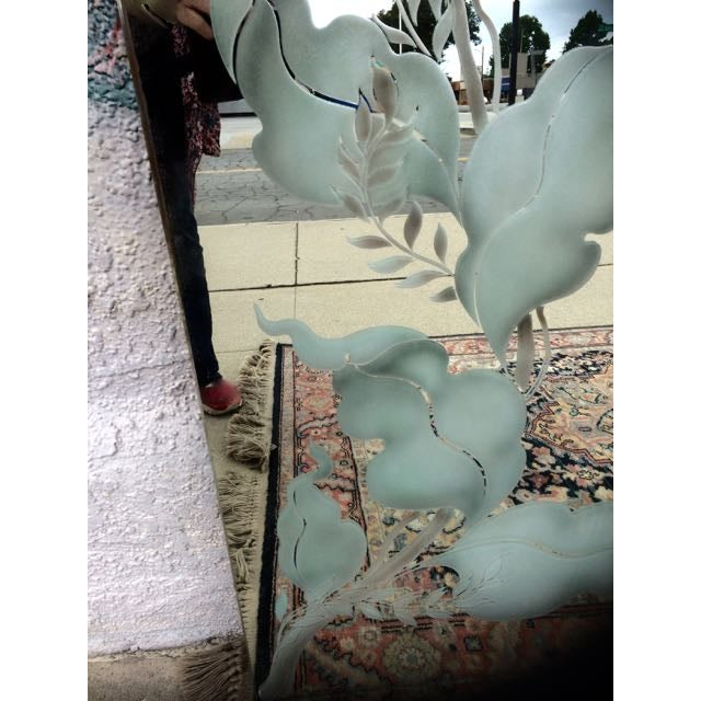 Antique Art Deco Etched Wall Mirror - Image 5 of 11