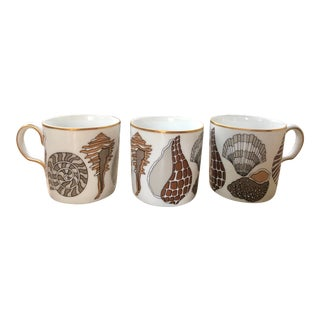 Fitz and Floyd for Neiman Marcus Shell Motif Espresso Demitasse Cups - Set of 3 For Sale