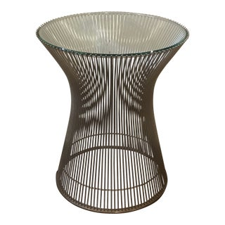 1966 Mid-Century Modern Warren Platner for Knoll Chrome and Glass Side Table For Sale