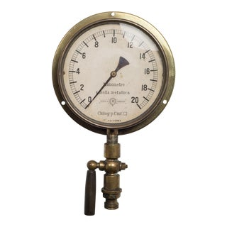 Early 20th C. Italian Brass and Bakelite Pressure Gauge C. 1920 For Sale
