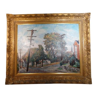 Circa 1940s New England Town Street Scene Painting by J. Barry Greene, Framed For Sale