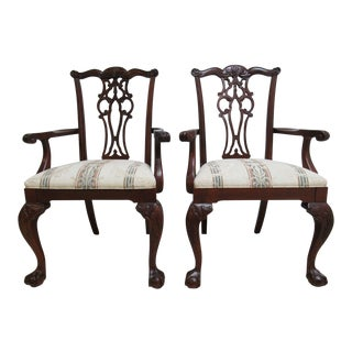 18th Century Ethan Allen Mahogany Dining Room Arm Chairs - Set of 2