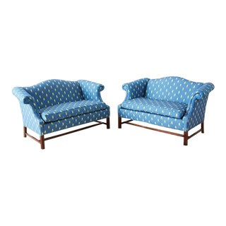 Pair of Georgian Mahogany Camelback Settees For Sale