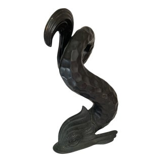 Vintage Metal Dolphin Statue For Sale