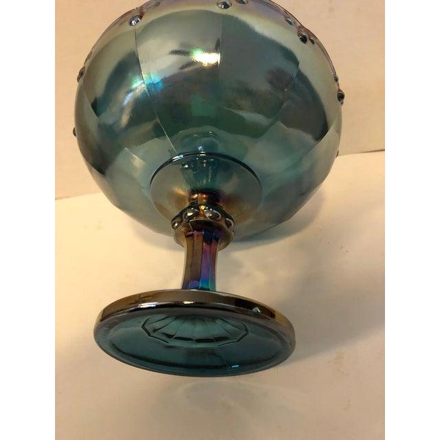 Vintage Carnival Blue Compote Bowl - Image 5 of 6