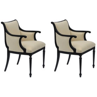 Pair of Chic Black Lacquer and Cream Velvet Armchairs by William Haines For Sale