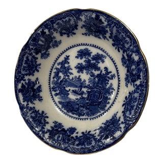 19th Century Rococo Flow Blue Gilt Rim Fruit Bowl For Sale
