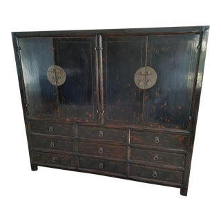 Asian Black Lacquer Chinese Cabinet For Sale