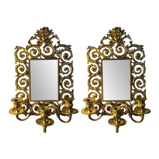 Bronze Rococo Three-Arm Mirror Wall Sconces - a Pair For Sale