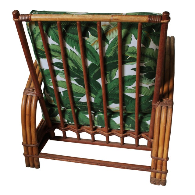 Hollywood Regency Rattan Lounge Chair For Sale - Image 4 of 7