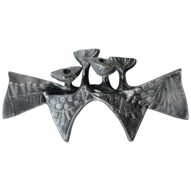 Donald Drumm Brutalist Cast Aluminum Candle Holder For Sale - Image 11 of 12