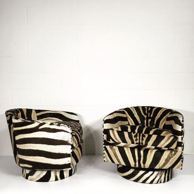 Milo Baughman Swivel Tilt Zebra Club Chairs - Pair - Image 2 of 7