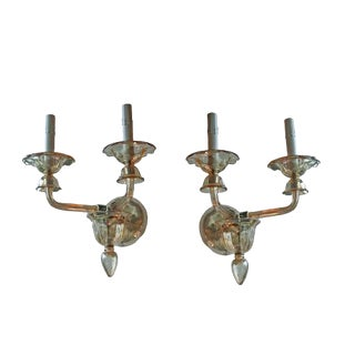 Mid-Century Murano Glass Sconces, a Pair