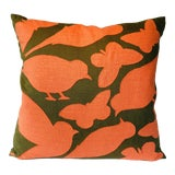 Image of Folk Art A Nature Walk Pillow - 22ʺW × 22ʺH For Sale