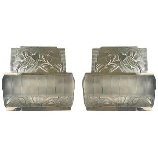 French Art Deco Bird Sconces With Geometric Motif by Sabino - a Pair For Sale