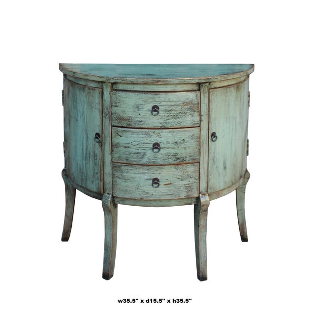 Wood Chinese Distressed Gray Celadon Color Wood Craw Legs Half Table For Sale - Image 7 of 8
