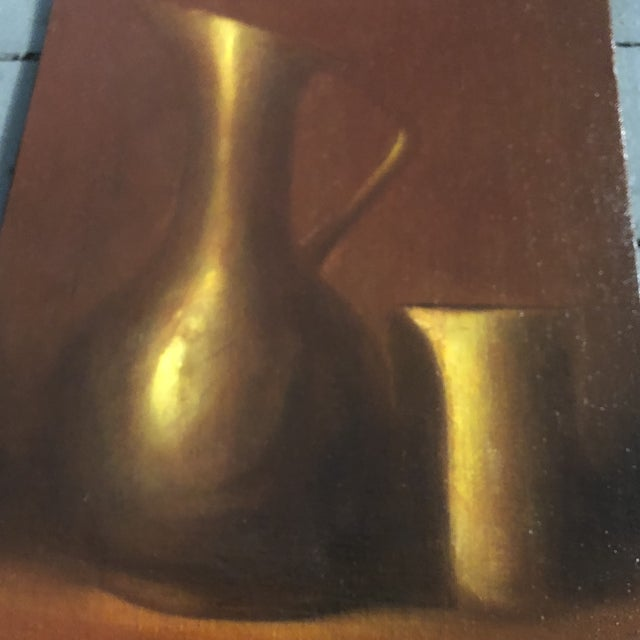 Gold Gallery Wall Collection 3 Original Vintage Classic Still Life Paintings For Sale - Image 8 of 10