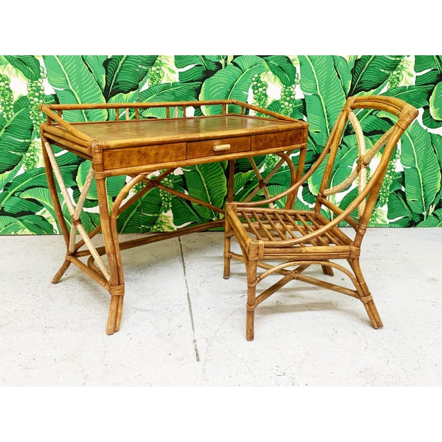 Mid Century Bamboo Desk and Chair For Sale - Image 13 of 13