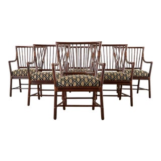 Set of Six Orlando Diaz-Azcuy for McGuire Dining Armchairs For Sale