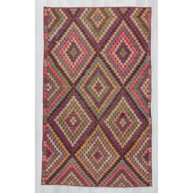 Offered is a vintage kilim rug from Denizli region of Turkey. In good condition. Approximately 45-55 years old.