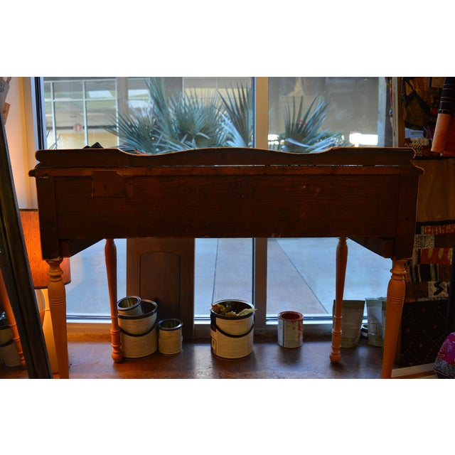 Yellow 1910s Folk Art Yellow Painted Console Table With Decoupaged Drawers For Sale - Image 8 of 11