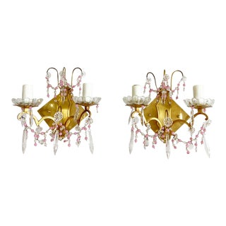 Midcentury French Crystal Sconces - a Pair For Sale