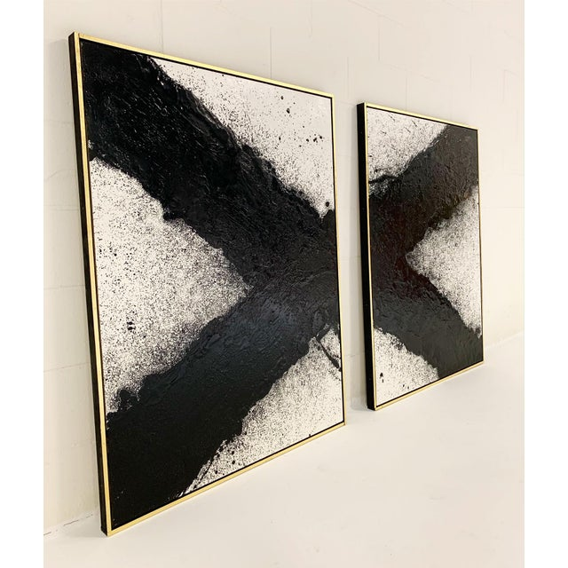 "2010s John O'Hara. Tar, 10. Two Panel Work. 37.25x49.25"" For Sale - Image 5 of 8"
