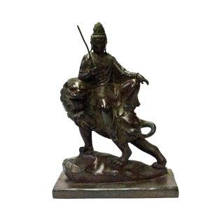Chinese Handmade Brown Bronze Kwan Yin Riding Lion Statue