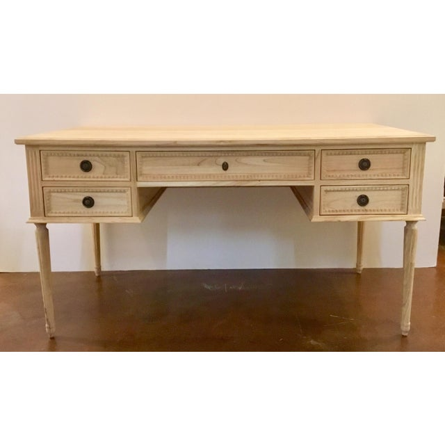 Metal Ave Home Transitional Natural Wood Colette Writing Desk For Sale - Image 7 of 7