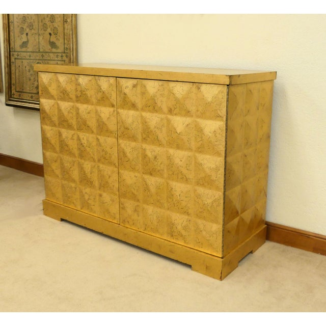 Baker Barbara Barry Giltwood Gold Leaf Diamond Cabinet For Sale - Image 10 of 10