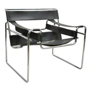 Vintage Marcel Breuer Wassily Style Chrome Black Leather Sling Lounge Chair For Sale
