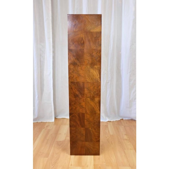 Mid-Century Modern Vintage Milo Baughman-Style Architectural Walnut Pedestal For Sale - Image 3 of 10