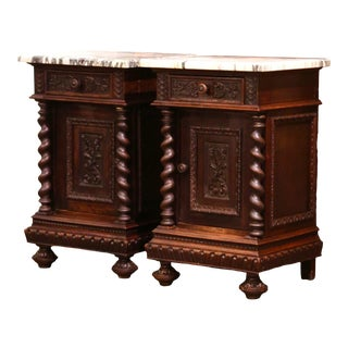 Pair of 19th Century French Carved Oak Nightstands With Marble Top For Sale
