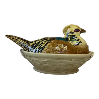 1910s Majolica Pheasant Tureen Sarreguemines Circa 1910 For Sale