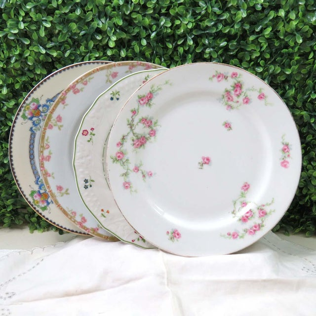 Ceramic Vintage Mismatched Fine China Luncheon Plates - Set of 4 For Sale - Image 7 of 8