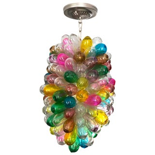 Candy Colors Setup Colorful Light Fixture of Handmade Handblown Glass For Sale