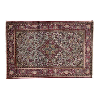 Late 19th-Century Antique Silk Persian Kashan with Jewel-Tone Colors