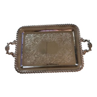 Large Vintage Wilcox Silver Plate Tray With Handles For Sale