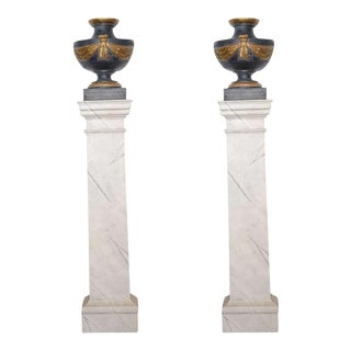 Pair of Italian Neoclassic Painted and Parcel-Gilt Urns on Pedestals For Sale