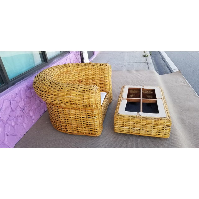 XL- Ralph Lauren Tropical Woven Rattan Chair and Ottoman For Sale In Miami - Image 6 of 13
