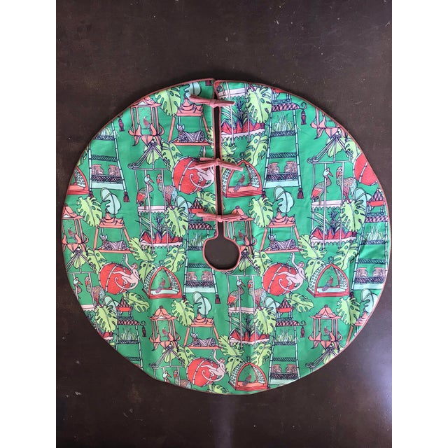 Pink and Green Tropical Patterned Christmas Tree Skirt For Sale - Image 4 of 4