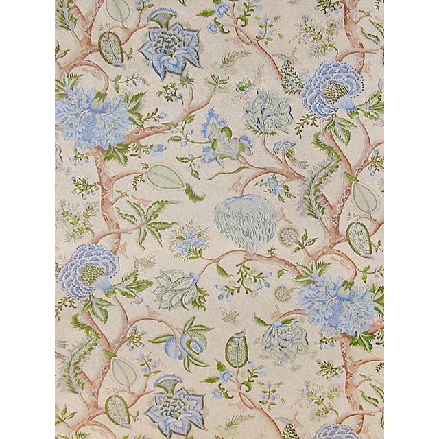 Sample, Scalamandre Pondicherry, Blue, Green on Cream Fabric For Sale