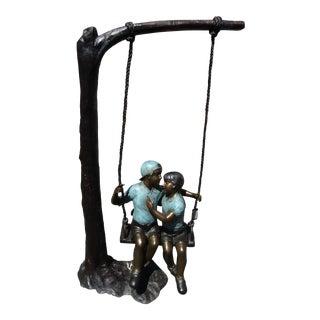 Children Swinging Bronze Statue For Sale