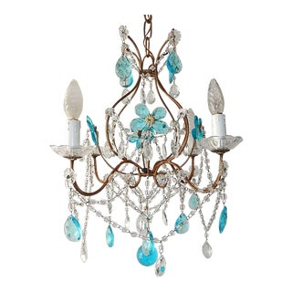 1920 French Bagues Style Aqua Flowers Crystal Chandelier For Sale