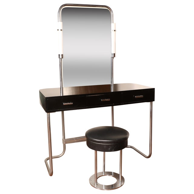 Art Deco Vanity with Stool - Image 1 of 11