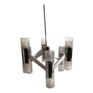 1970s Mid-Century Modern Chrome and Glass Chandelier For Sale