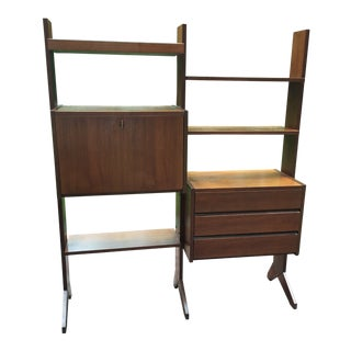 Mid Century Modern Walnut Wall Unit