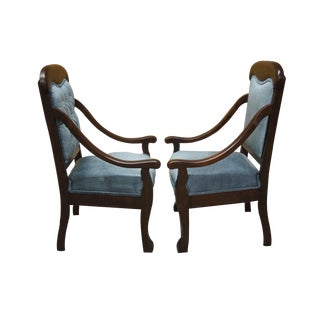 20th Century Victorian Mahogany Parlor Accent Chairs - a Pair